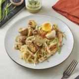 Kochbox Sesam Kartoffeln, Wokgemüse, Onsen-Ei und Nippon Express Gemüse Dressing